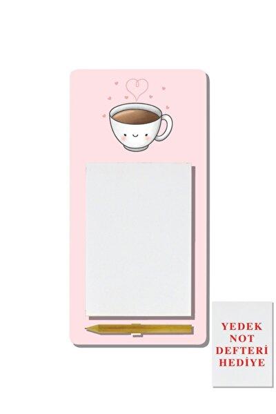 Kalpli Kahve Desenli Magnetli Kalemli Mdf Notluk - Hediyeli Bm02