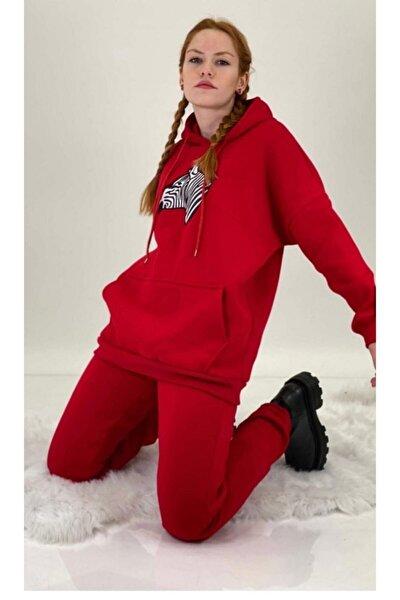 Kadın Zebra Desenli Kırmızı Renk Eşofman Takımı