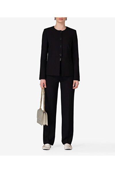 Kadın Siyah İnci Düğmeli Ceket T53859108