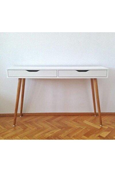 120*50*72 Dekoratif Çalışma Masası Beyaz