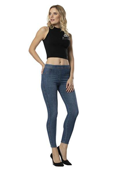 Kadın Koyu Mavi Denim Tarz Tayt Pantolon