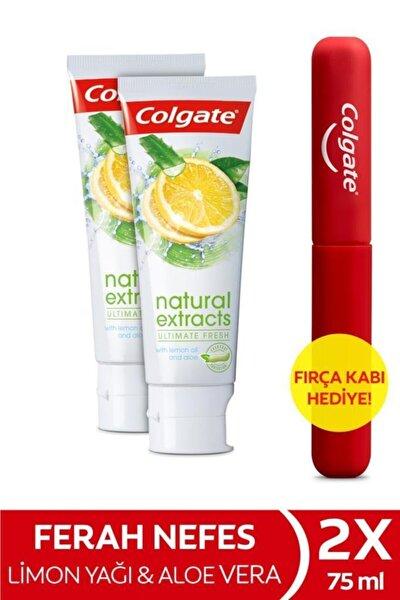 Natural Extracts Limon Yağı Maksimum Ferahlık Diş Macunu 2 X 75 ml + Diş Fırçası Kabı Hediye