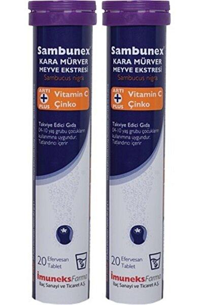 Sambunex Kara Mürver Vitamin C Ve Çinko 20 Efervesan Tablet 2 Adet