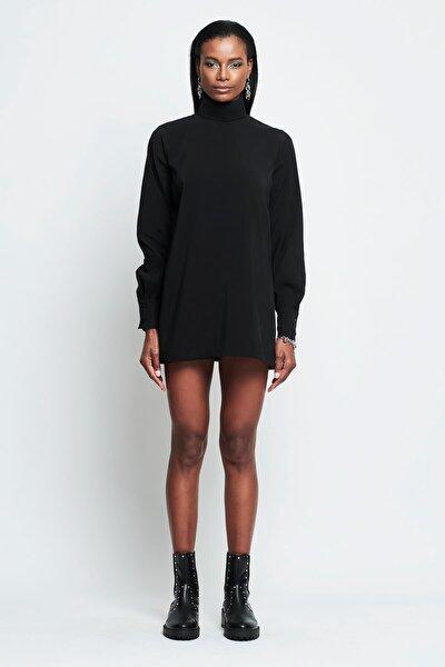 Kadın Siyah Dik Yaka Mini Ola Elbise