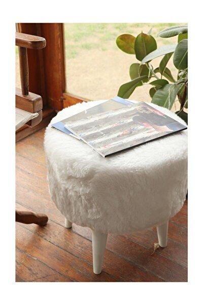 Yuvarlak Beyaz Peluş Puf Beyaz Ayaklı Pf311290