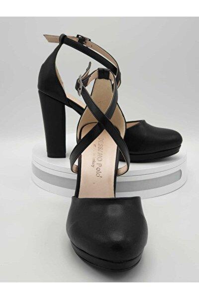 Deri Yüksek Topuklu Çapraz Bantlı Siyah Ayakkabı