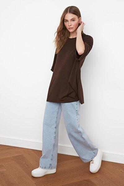 Kahverengi Duble Kol Asimetrik Boyfriend Örme T-Shirt TWOSS20TS0828