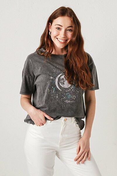 Kadın Antrasit Rodeo Tişört