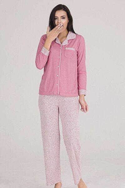 Chiser Kadın Gül Kurusu Önden Açık Göğüs Cepli Örme Pijama Takımı