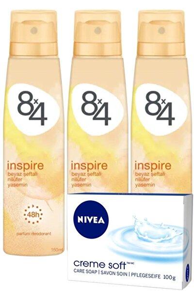 Inspire Pudrasız Unisex Deodorant Sprey 150 ml X 3 Adet | + Nivea Sabun