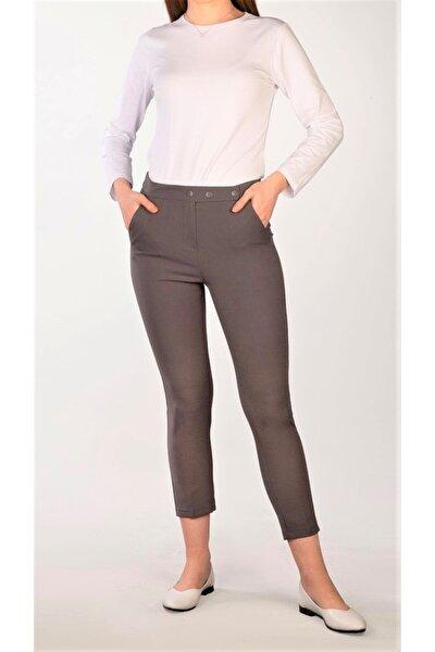 Kadın Antrasit Çıtçıtlı Kumaş Pantolon