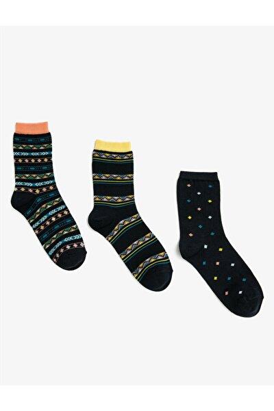Kadin Desenli Pamuklu Çorap Seti 3'lü