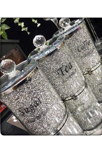 Gümüş 3lü Kristal Taşlı Cam Kavanoz Seti