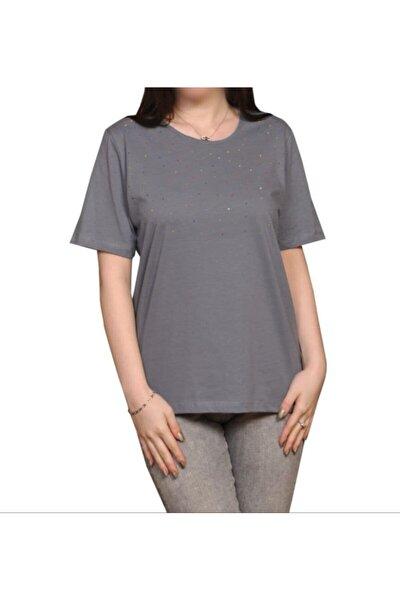 Kadın Gri  Taşlı  Tshirt