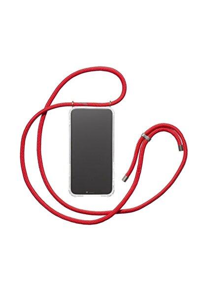 Huawei P30 Uyumlu Lite Şeffaf Kırmızı Boyun Askılı Ipli Kılıf