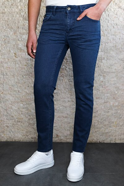 Erkek Açık Lacivert Slim Fit Crush Kot Pantolon Hltvalblue