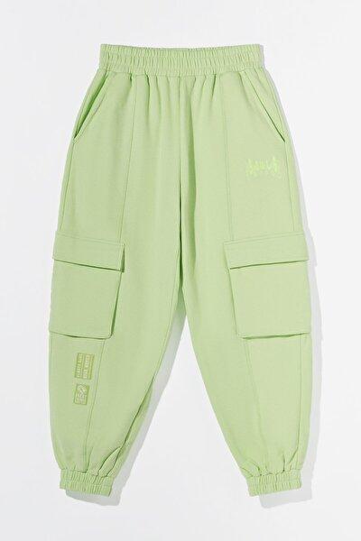 Kadın Yeşil Penye Kargo Jogging Fit Pantolon