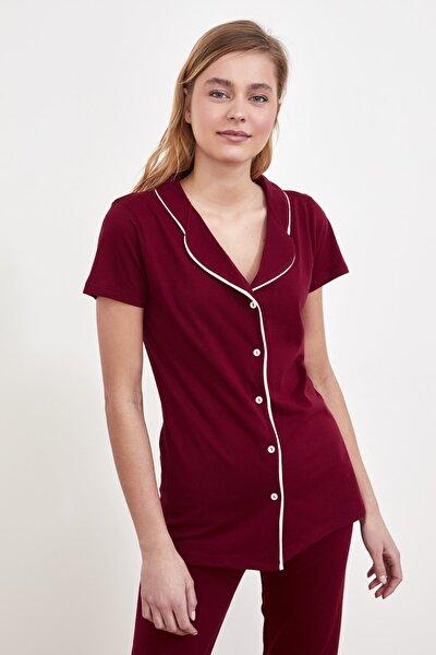 Bordo Baskılı Örme Pijama Takımı THMSS21PT0487