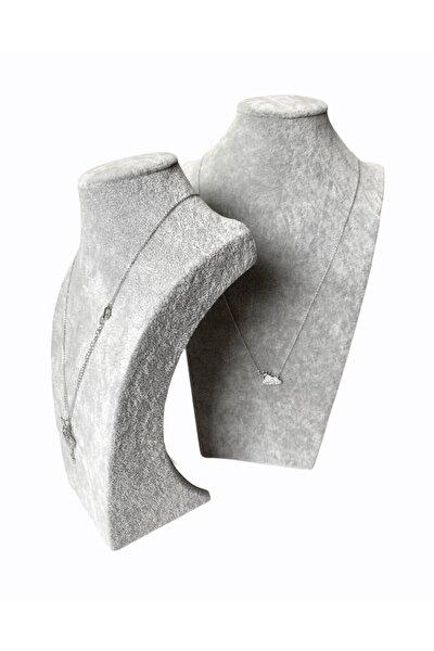 Gri Süet Manken,kolye Vitrin,stand Boyun Takı Büstü (30cm)