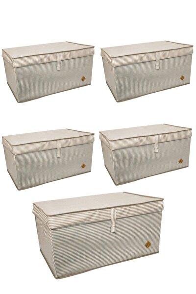 5 Adet - Kapaklı Çok Amaçlı Çamaşır-saklama-düzenleme Vb. Hurç, Kutu Mega 60x40x30 - Kahverengi