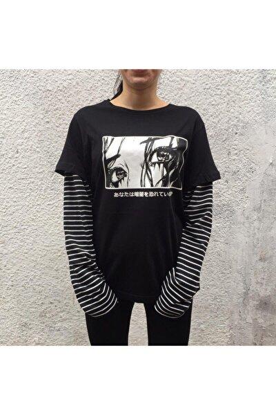 Unisex Siyah Art Not Looking Back Çizgili Uzun Kollu