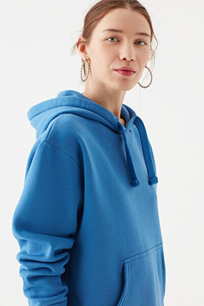 Kadın Kapüşonlu Mavi Sweatshirt 167299-32333