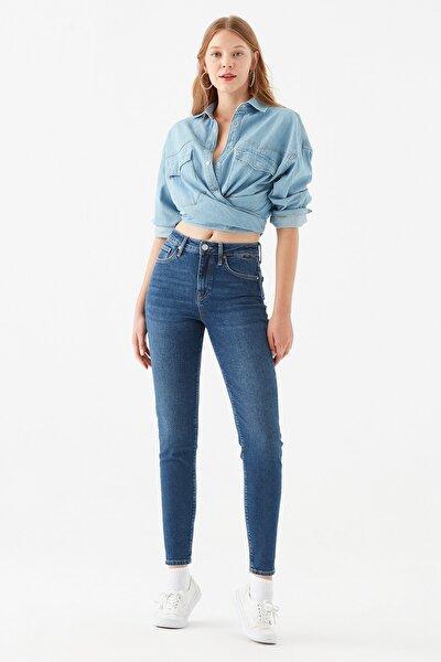 Cindy All Blue Koyu Jean Pantolon