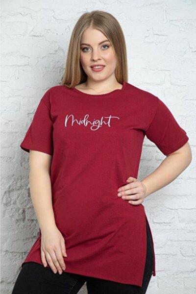 Kadın Bordo Büyük Beden Tshirt
