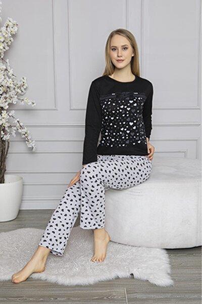 Kadın Siyah Kurdele Kalp Baskılı Desenli Uzun Kollu Pijama Takımı