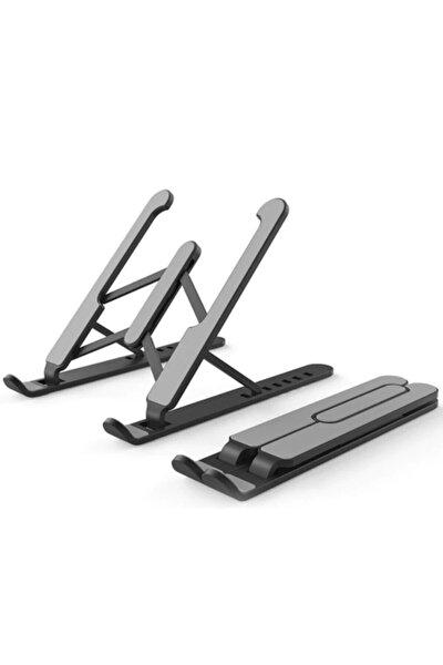 Siyah Laptop Standı Portatif 6 Farklı Yükseklik Kademe Ayarlı Notebook Bilgisayar Tablet Standı