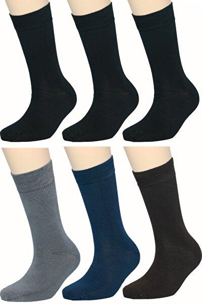 Erkek Bambu Çorap Soket Dikişsiz Burun Kokulu 6 Adet (3 SİYAH 1 LACİ- 1 GRİ- 1 KAHVE)