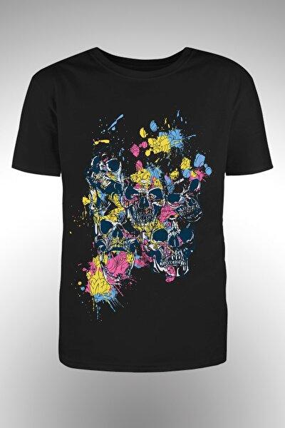 Renkli Iskelet Baskılı T-shirt