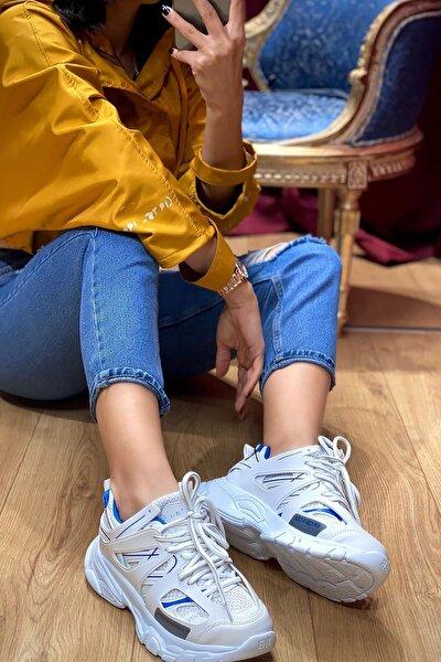 Unisex Beyaz Yüksek Taban Sneaker Ayakkabı