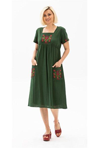 Melek Şile Bezi Elbise Yeşil