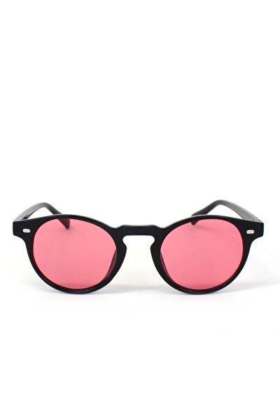 Şeker Kırmızı Camlı Yuvarlak Kemik Çerçeveli Unisex Güneş Gözlüğü
