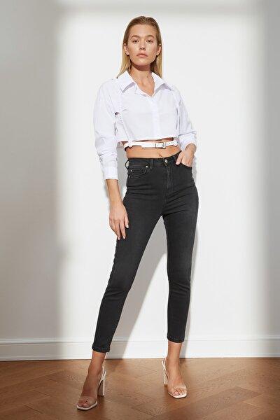 Siyah İncelten Etki Yüksek Bel Skinny Jeans TWOSS21JE0471