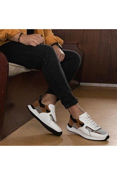 Born Erkek Beyaz Kahve Hakiki Deri Günlük Ayakkabı