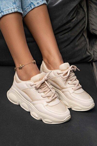 Sarah Bej Kalın Taban Bağlı Kadın Sneakers Spor Ayakkabı