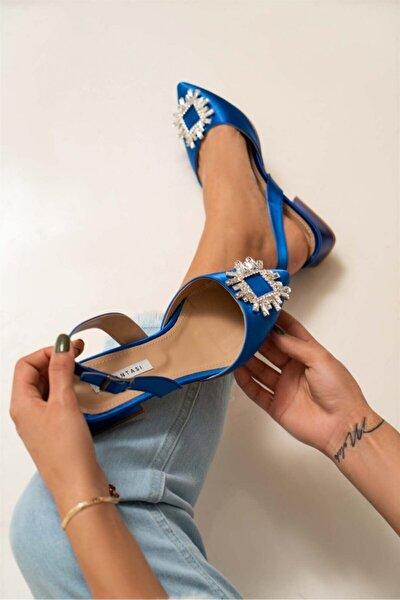Kadın Saks Mavi Saten Şeffaf Burun Taş Detay Sandalet