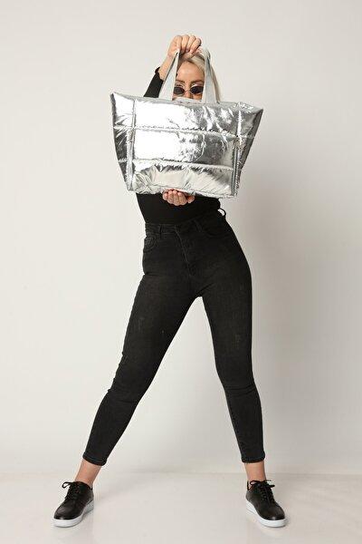Kadın Gri  Fermuar Detaylı Raylı  Şişme Çanta