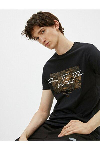 Erkek Siyah Pamuklu Bisiklet Yaka Kısa Kollu Baskılı T-shirt