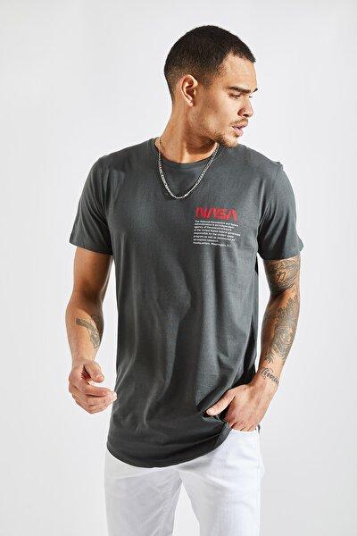 Erkek O Yaka Nasa Baskı Füme  T-Shirt
