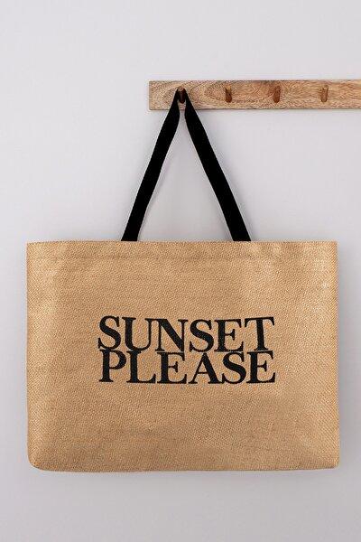 Sunset Please Baskılı Jüt Plaj Çantası