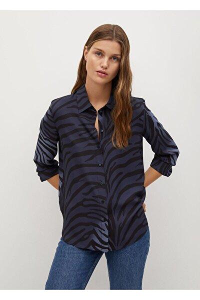 Kadın Mavi Geri Dönüştürülmüş Polyester Gömlek