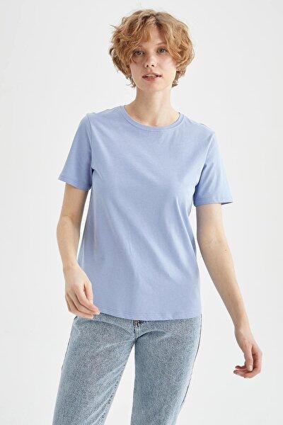 Kadın Mavi Basic Bisiklet Yaka Tişört