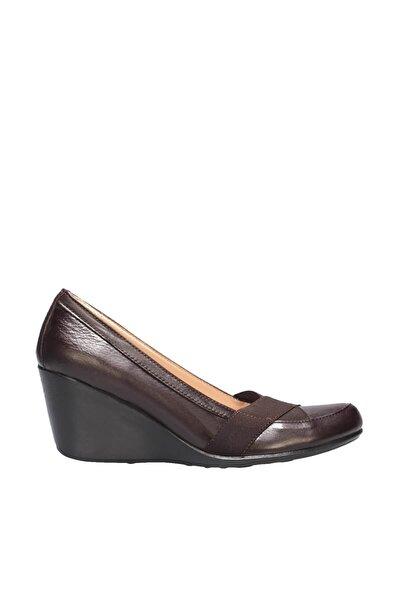 Hakiki Deri Kahverengi Kadın Dolgu Topuklu Ayakkabı 120130009804
