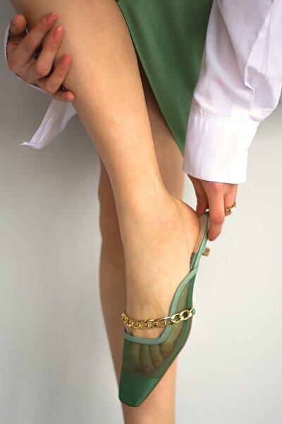 Kadın Yeşil Sosyetika File, Gold Zincir Detaylı Topuklu Ayakkabı