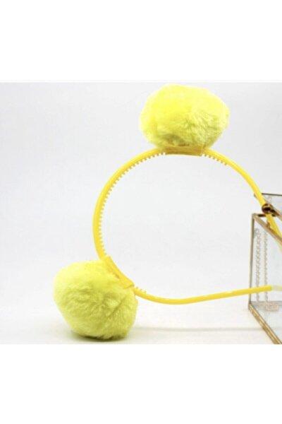 Kız Çocuk Neon Sarı Peluş Tüylü Pon Pon Tacı