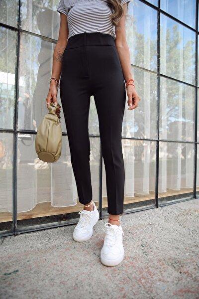 Kadın Siyah Ekstra Yüksel Bel Toparlayıcı Kumaş Pantolon