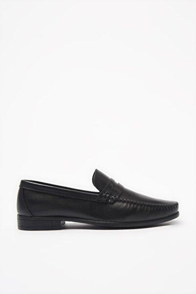 Hakiki Deri Siyah Loafer Ayakkabı 02AYH206220A100